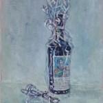 fles wijn 14x17 cm olieverf op karton