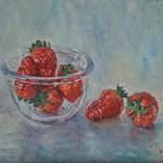 aardbeien 20x30 cm olieverf op doek