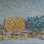 ananas 30x50 cm olieverf op doek
