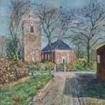de kerk van uitwierde 40x40 cm olieverf op doek