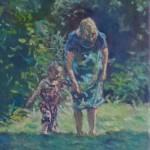 moeder en dochter 20x30 cm olieverf op doek