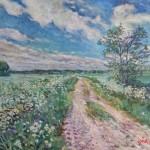landschap bij appingedam 50x60 cm olieverf op doek