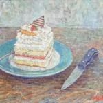 slagroom taart 24x30 cm olieverf op doek